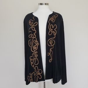 Chico's Travelers Size 2 Black Open Front Cardigan